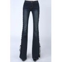 Womens New Fashion Split Lace-Up Side Faded Slim Fit Flare Jeans