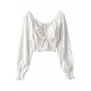 Fashionable Womens Shirt Solid Color Shirred Waist Lace-up Front Square Neck Long Puff Sleeve Slim Fit Pullover Shirt