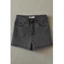 Fashionable Womens Shorts Dark Wash Pockets High Waist Stretch Straight Denim Shorts