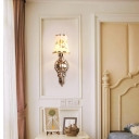 Flared Bedside Wall Lamp Traditional White Glass Gold Finish Sconce Light with Crystal and Flower Pattern