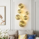 Golden Lotus Leaf Wall Sconce Light Artistic Metal Wall Light Fixture for Dining Room