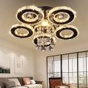 Crystal Rings LED Semi Flush Light Contemporary White Ceiling Mount Light for Bedroom