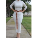 Ladies Elegant Dress Long Sleeve Mock Neck Belted Waist Plain Mid Bodycon Dress