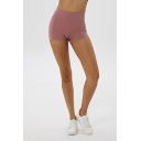 Casual Womens Shorts Solid Color High Waist Slim Fitted Shorts