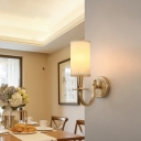 Cylindrical Fabric Wall Lamp Minimalist 1 Head Dining Room Sconce Lighting in Gold