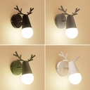 Metal Deer Head Wall Light Nordic 1-Light Rotatable Wall Mounted Reading Lamp for Bedroom