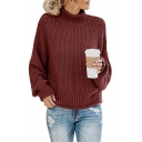 Ladies Cozy Sweater Knitted Blouson Sleeve Mock Neck Loose Pullover Sweater Top