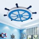Rudder LED Ceiling Flush Mount Nautical Style Metal Blue Flush Light Fixture for Child Room