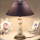 Cartoon Lighthouse Table Lamp Resin 1 Head Childrens Bedroom Night Light with Pleated Lampshade