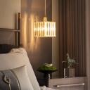 Square Bedside Pendulum Light Prismatic Crystal Single Simple Pendant Light in Gold