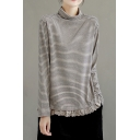 Classic Womens T-shirt Striped Print Long Sleeve Mock Neck Lace Trim Relaxed Fit Tee Top