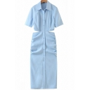 Fashionable Womens Dress Plain Color Cut-out Side Ruched Button up Turn down Collar Midi Short Sleeve Shirt Dress