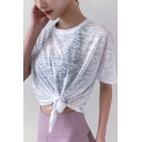 Womens T-Shirt Fitness Quick Dry Breathable Cover up Crew Neck Short Sleeve Loose Fit Yoga T-Shirt