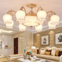 Ruffle Carved Glass Semi Flush Light Traditional Living Room Ceiling Light in White and Gold