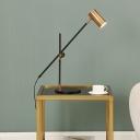 Balance Arm Reading Lamp Postmodern Metal 1 Head Gold-Black Table Light with Tube Shade