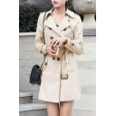Trendy Coat Solid Color Long Sleeve Notched Collar Double Breasted Tied Waist Tunic Regular Fit Trench Coat for Women