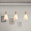 Nordic 3-Light Cluster Pendant Wood Hexagonal Pyramid Hanging Light with Frosted Glass Shade