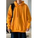 Basic Hoodie Mens Solid Color Thick Drawstring Kangaroo Pocket Relaxed Fit Long Sleeve Hoodie