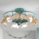 Wooden Carousel Flush Mount Lamp Cartoon 3-Light Semi Flush Ceiling Light for Kids Room