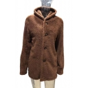 Mens Warm Long Sleeve Button Front Solid Color Fluffy Fleece Hooded Coat