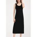 Simple Girls Dress Round Neck Sleeveless Mid A-line Tank Dress in Black