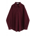 Trendy Womens Shirt Solid Color Cord Single Breasted Loose Fit Long Sleeve Spread Collar Shirt