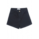 Chic Womens Shorts Solid Color Roll Hem Zipper Fly A-Line High Rise Denim Shorts