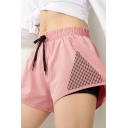 Womens Shorts Fitness Hollow out Anti-Emptied Drawstring Waist Loose Fit Yoga Shorts