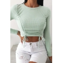 Sexy Ladies T-shirt Ribbed Solid Color Long Sleeve Crew Neck Drawstring Fitted Crop T-shirt