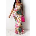 Fashionable Womens Dress Floral Vine Leopard Skin Pattern Sleeveless Scoop Neck Strap Floor Length Bodycon Dress