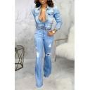 Classic Womens Jacket Medium Wash Distressed Button up Turn down Collar Long Puff Sleeve Slim Denim Jacket
