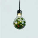 Bulb Shaped Clear Glass Mini Pendant Lamp Decorative 1-Light Dining Room Ceiling Light with Plant Deco