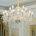 Candlestick Chandelier Light Fixture Victorian Clear Crystal Glass Hanging Lamp for Living Room