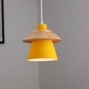 Metal Geometric Shade Pendant Lamp Macaron 1 Head Hanging Light with Wood Decoration