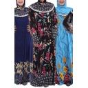 Black Arabic Dress Flower Print Long Sleeve Hooded Maxi Shift Dress for Women