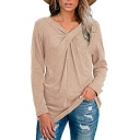 Womens Basic T Shirt Solid Color Long Sleeve Twist Front Relaxed Tee Top