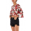 Trendy Ladies Blouse All Over Flower Print Bell Sleeve V-neck Ruffled Relaxed Crop Blouse Top in Red