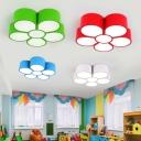 Cartoon Flower LED Flush-Mount Light Metallic Nursery School Ceiling Mounted Light