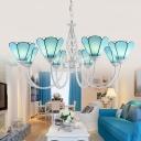 Blue Glass Scalloped Chandelier Light Mediterranean White Suspension Lamp for Living Room