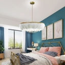 Hand-Woven Chainlet Chandelier Minimalist Feather Bedroom Pendant Light in White