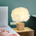 Goose Feather Sphere Table Light Modern 1 Bulb Nightstand Lamp with Cube Ceramic Base