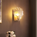 Clear Crystal Scallop Wall Light Postmodern 1 Bulb Gold Sconce Light for Living Room