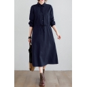 Elegant Dress Solid Color Long Sleeve Point Collar Button Up Mid A-line Shirt Dress