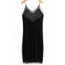 Classic Womens Dress Lace Trim Split Detail Spaghetti Strap Midi Slip Dress in Black