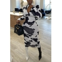 Classic Womens Dress Cow Spot Pattern Slim Fit Midi Zipper Mock Neck Long Sleeve Pencil Dress