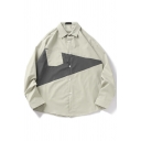 Mens Shirt Stylish Contrast Panel Chest Pocket Button up Spread Collar Loose Fit Long Sleeve Shirt