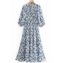Casual Womens Dress Ditsy Floral Print Short Sleeve Crew Neck Mid A-line Pleated Dress