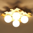 Jigsaw Puzzle Ceiling Light Nordic Wooden Bedroom Semi Flush Mount with Ball Opal Glass Shade