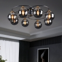 Bedroom Close to Ceiling Light Nordic Black Semi Flush Light with Ball Glass Shade