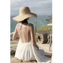 Fashionable Womens Dress Solid Color Backless Loose Fit Sleeveless Maxi Beach Dress